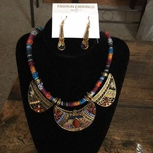 Jewelry - Boho necklace earring set statement tribal pieces